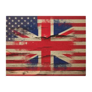Bandera americana británica de la pintura el | del impresión en madera