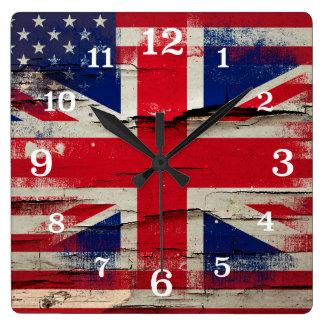 Bandera americana británica de la pintura el | del reloj cuadrado