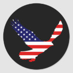 Bandera americana calva de Eagle Etiquetas Redondas