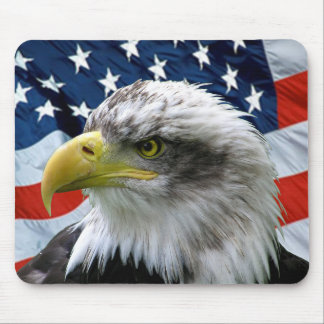 Bandera americana calva Mousepad de Eagle