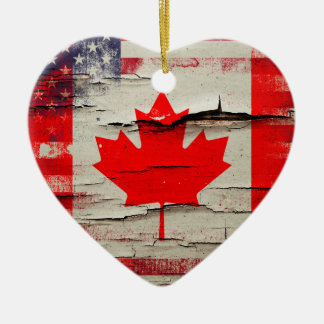 Bandera americana canadiense de la pintura el | adorno navideño de cerámica en forma de corazón