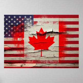 Bandera americana canadiense de la pintura el | póster
