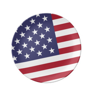 Bandera americana - celebre los E.E.U.U. - 4 de Plato De Cerámica