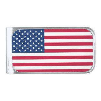 Bandera americana clip para billetes plateado