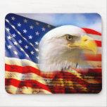 Bandera americana/cojín de ratón de Eagle Tapete De Ratón