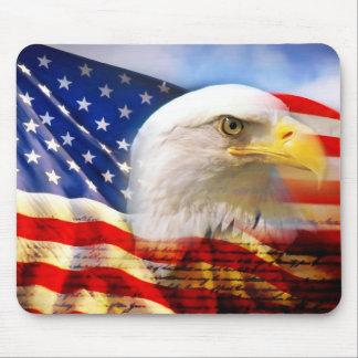 Bandera americana/cojín de ratón de Eagle Tapete De Ratones