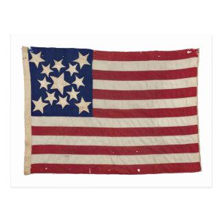 Bandera americana con 13 estrellas postal