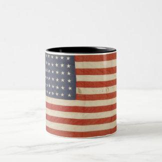 Bandera americana con 48 estrellas taza de café