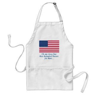 Bandera americana con cita Spangled estrella de la Delantal