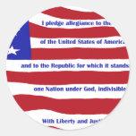 Bandera americana con compromiso en rayas pegatina redonda