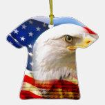 Bandera americana con Eagle calvo Ornamento De Navidad