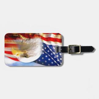Bandera americana con Eagle calvo Etiquetas Maletas