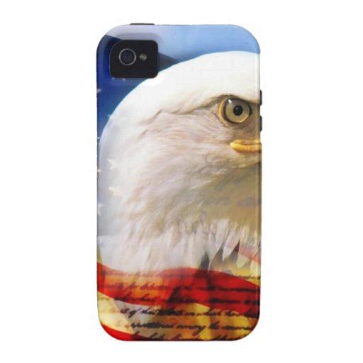 Bandera americana con Eagle calvo iPhone 4 Carcasa