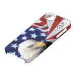 Bandera americana con Eagle calvo patriótico iPhone 5 Carcasas