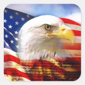 Bandera americana con Eagle calvo Calcomanía Cuadradas Personalizadas