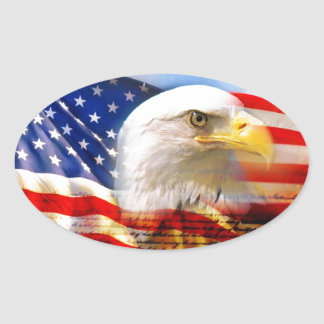 Bandera americana con Eagle calvo Pegatina Ovalada