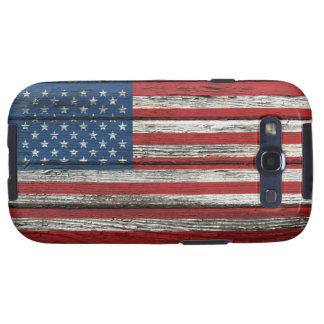 Bandera americana con efecto de madera áspero del  galaxy SIII funda