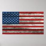 Bandera americana con efecto de madera áspero del  poster