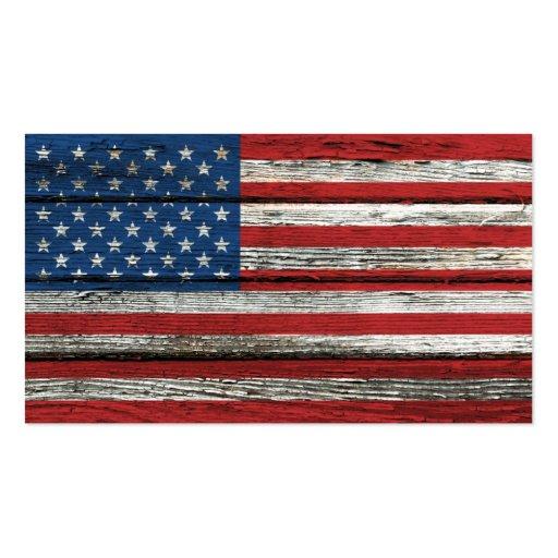Bandera americana con efecto de madera áspero del  plantillas de tarjetas de visita