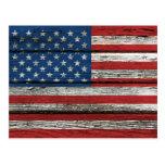 Bandera americana con efecto de madera áspero del  postal