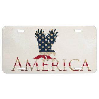 Bandera americana con el coche de Eagle decorativo Placa De Matrícula