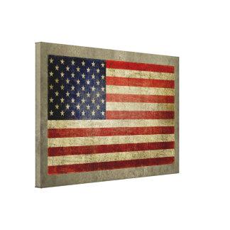 Bandera americana con el vintage, final resistido impresión en lona