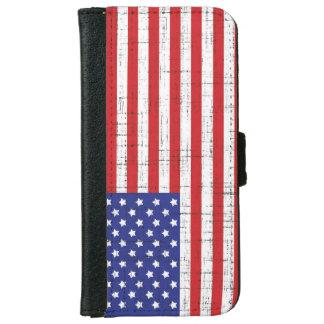 Bandera americana con la capa bosquejada funda cartera para iPhone 6
