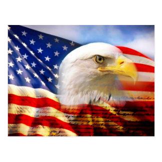 Bandera americana con la postal de Eagle calvo