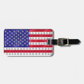 """bandera americana """"con lentejuelas"""" etiqueta de equipaje"""