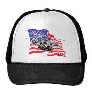 Bandera americana con los helicópteros gorro de camionero