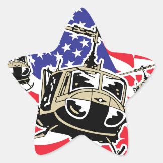 Bandera americana con los helicópteros pegatina en forma de estrella