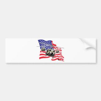 Bandera americana con los helicópteros pegatina para auto