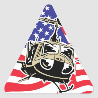 Bandera americana con los helicópteros pegatina triangular