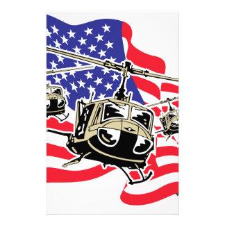 Bandera americana con los helicópteros personalized stationery