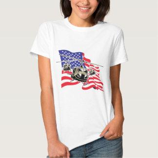 Bandera americana con los helicópteros playera