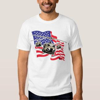 Bandera americana con los helicópteros poleras