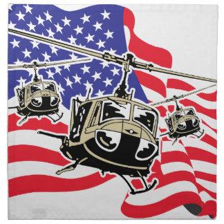 Bandera americana con los helicópteros servilleta imprimida