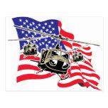 Bandera americana con los helicópteros tarjetas postales