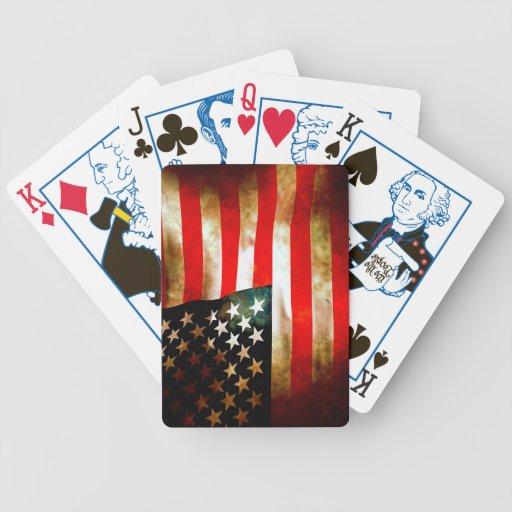 Bandera americana con los presidentes naipes/cubie baraja de cartas bicycle