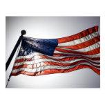 Bandera americana con Sun en el fondo Postales