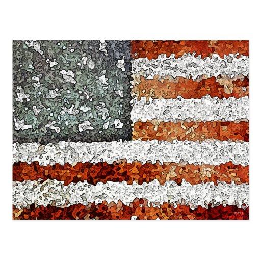 Bandera americana creativa postal