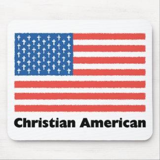 Bandera americana cristiana alfombrillas de ratón