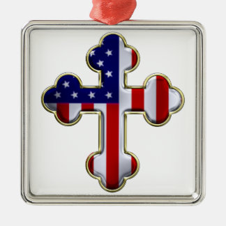 Bandera americana Cross2 Adorno Navideño Cuadrado De Metal