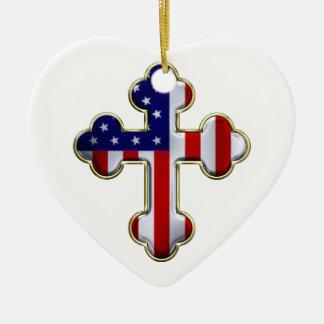 Bandera americana Cross2 Adorno Navideño De Cerámica En Forma De Corazón