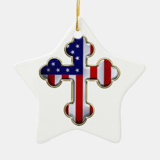 Bandera americana Cross2 Adorno Navideño De Cerámica En Forma De Estrella