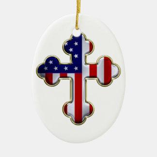 Bandera americana Cross2 Adorno Navideño Ovalado De Cerámica