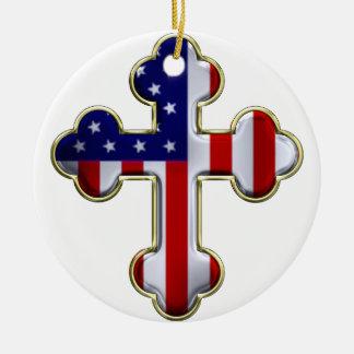 Bandera americana Cross2 Adorno Navideño Redondo De Cerámica