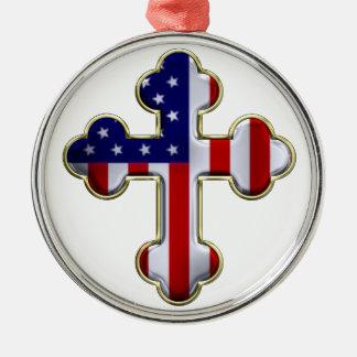 Bandera americana Cross2 Adorno Navideño Redondo De Metal