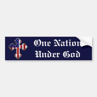 Bandera americana Cross2 Etiqueta De Parachoque