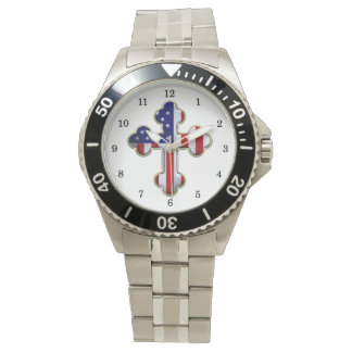 Bandera americana Cross2 Relojes De Pulsera